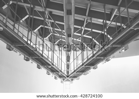 Abstract of air distribution system and lighting.Used color tool for gray tone. - stock photo