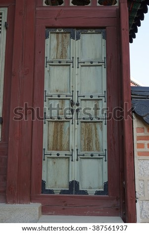 abstract of ancient asian old door for background used