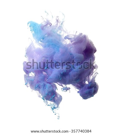 Abstract of blue and brown acrylic paint in water.