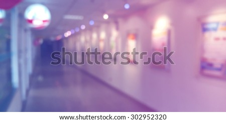 Abstract of blurred corridor in the hospital, in blue and pink tone. - stock photo