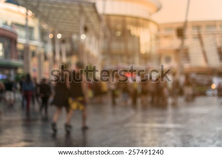 Abstract of blurred people walking in the shopping mall - stock photo