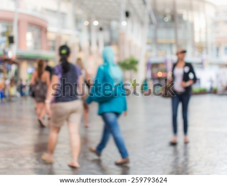 Abstract of blurred people walking in the shopping mall