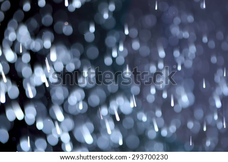 Abstract of bokeh and rainy as background. photography lens blur technique with water spay