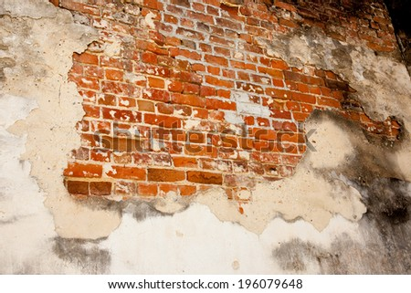 Abstract of brick wall with plaster