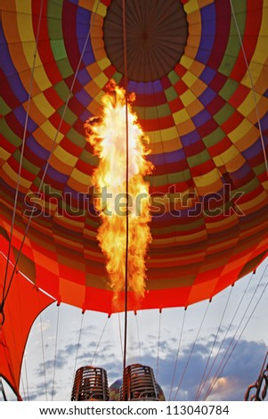 Abstract of burners blowing flames and heat into a hot air balloon to creat lift. Location of this generic shot was Cappadocia, Turkey - stock photo