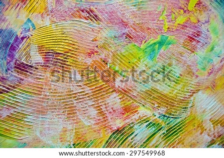 abstract of colorful thick paint  with deep trowel lines - stock photo