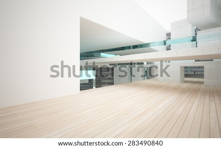Abstract of concrete, glass and wood, background  - stock photo