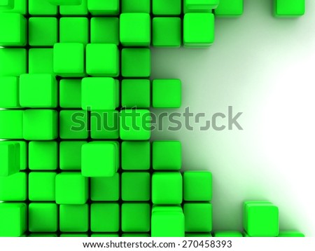 abstract of 3d green  cubes, blocks background
