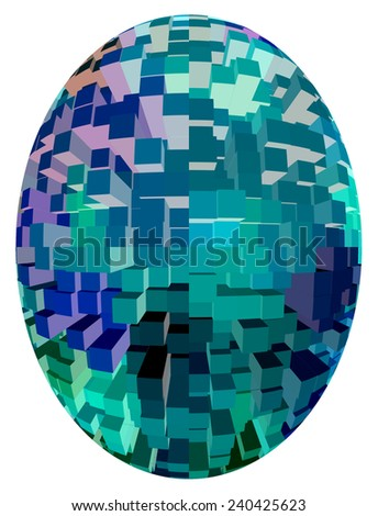 Abstract of generic office buildings inside a large egg isolated on white