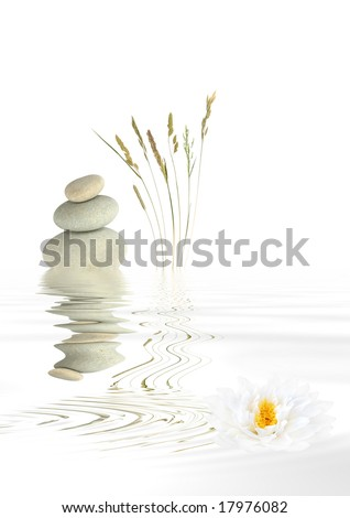 Abstract of grey spa stones balanced on top of each other, with a selection of wild grasses and a white lotus lily flower with reflection over rippled water. Over white background. - stock photo