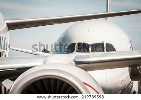 abstract of jet aircraft taxiing at an airport