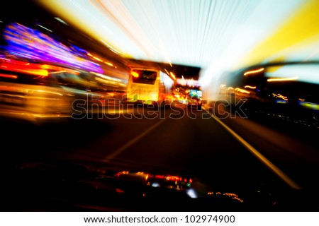 Abstract of light trail at busy street Kuala Lumpur