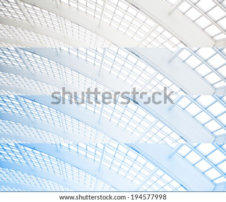 abstract of modern glass ceiling - stock photo
