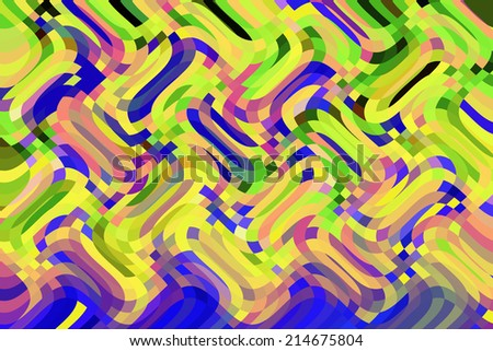 Abstract of overlapping waves with colors of summer and the tropics - stock photo