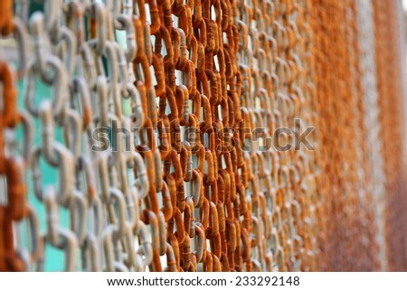 Abstract of Thick Rusty Chain Background - stock photo