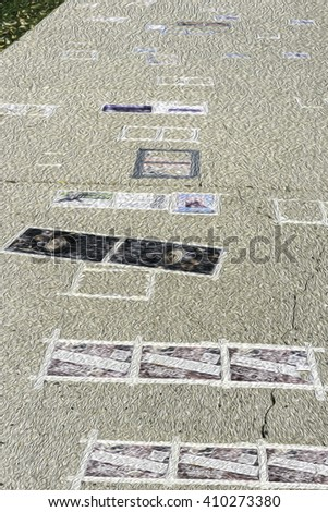 Abstract of various circulars taped to sidewalk on college campus, with digital oil-painting effect, for themes of promotion, publicity, higher education and communication - stock photo
