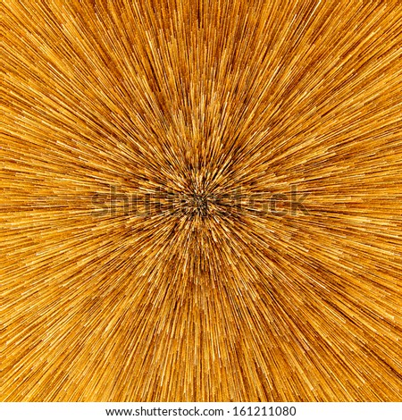 Abstract of warp or hyperspace motion in golden star trail. Exploding and expanding movement. - stock photo