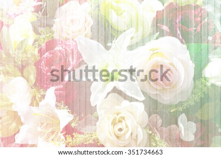 abstract of white wood wall with flower texture for background