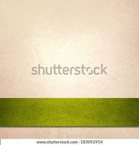 abstract off white background and olive green ribbon stripe, beautiful golden background accent color or fancy elegant pale gold background paper with faint luxurious vintage background texture - stock photo
