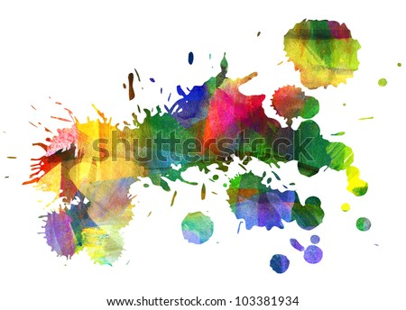 Abstract oil painting. Blot. Smeared stain. Blob. Freehand drawing - stock photo