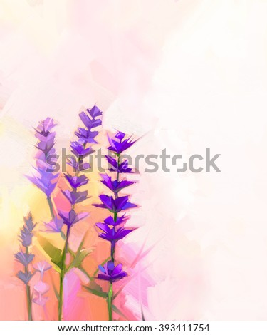 Abstract oil painting closeup lavender flowers - stock photo