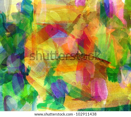 Abstract oil painting. Freehand drawing - stock photo