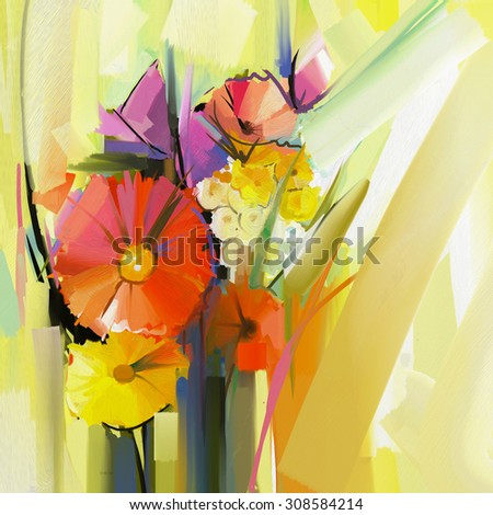 Abstract oil painting of spring flower. Still life of yellow and red gerbera flowers. Hand Paint floral Impressionist style - stock photo