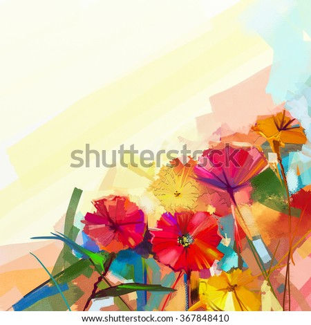 Abstract oil painting of spring flowers. Still life of yellow and red gerbera flower. Colorful Bouquet flowers with light green-blue color background. Hand Painted floral modern Impressionist style - stock photo