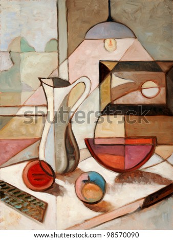 Abstract oil painting of still life with pitcher and fruits - stock photo
