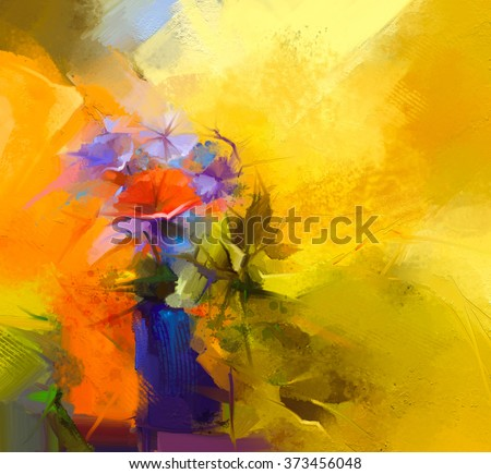 Abstract oil painting Still life of red gerbera flower. Colorful bouquet of spring flowers with light yellow, red background. Hand Painted floral modern Impressionist style - stock photo