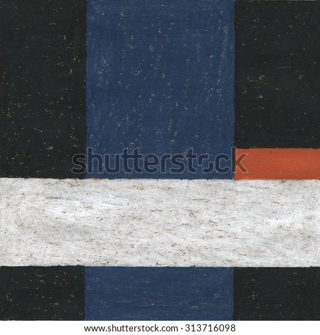 Abstract oil pastel painting artwork. Abstract painted background, texture. Art color design with geometric shapes. Handmade illustration on rough grungy paper.  White, black, red and blue. - stock photo