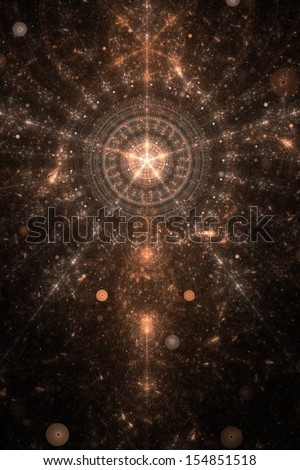 Abstract old alchemic symbol theme, brown on black - stock photo