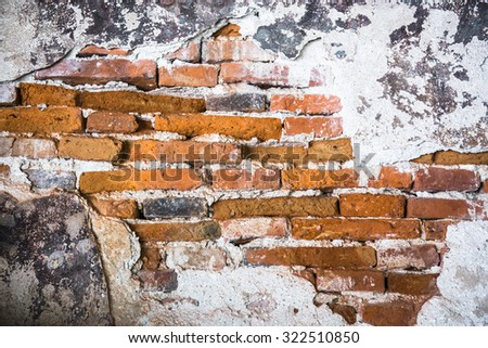 Abstract old brick wall texture background, Old weathered brick wall fragment - stock photo