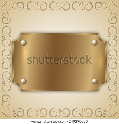 abstract old gold award plate with curved corners, screws, ornament and place for text