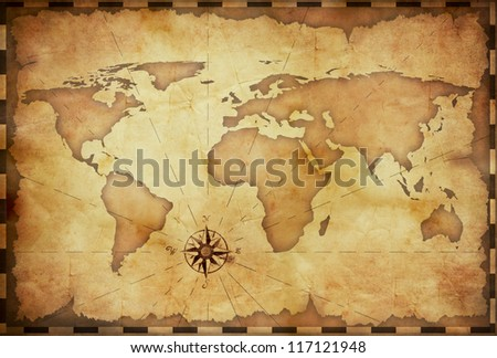 abstract old grunge world map - stock photo