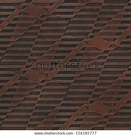 Abstract old rusty knurling mesh panel. Seamless tiling.