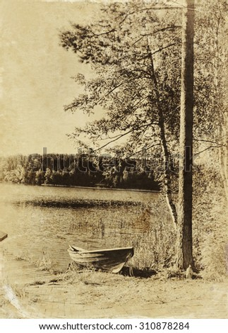 abstract old style photo of countryside pier - forest, lake and boat landscape. black and white image - stock photo