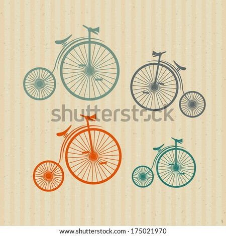 Abstract Old, Vintage Bicycles, Bikes on Recycled Paper Background - Also Available in Vector Version  - stock photo