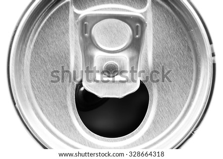 abstract open can background, view of the can top. - stock photo