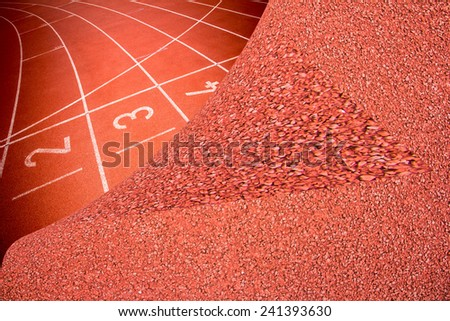 Abstract open running track rubber standard red color - stock photo