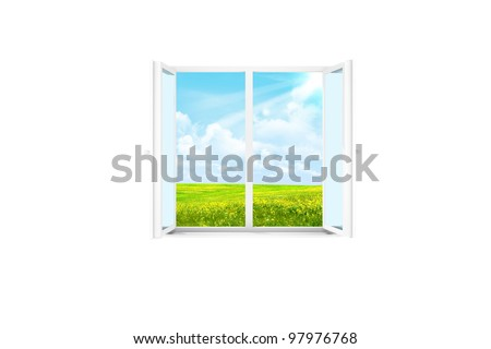 Abstract. Open window in a white room. Nature