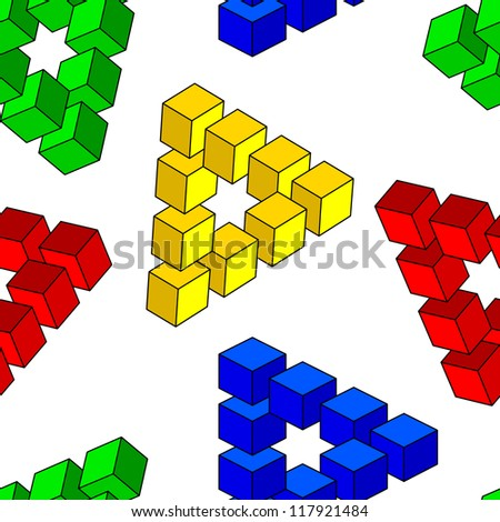 abstract optical illusion, seamless wallpaper,  illustration - stock photo