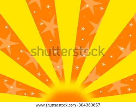 Abstract orange and yellow background with stripes and stars