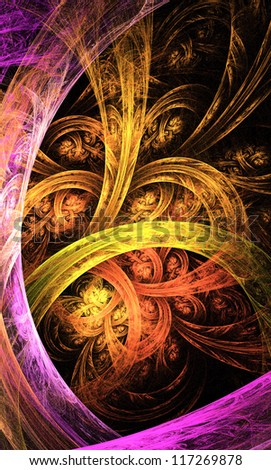 abstract orange and yellow  fractal illustration - stock photo
