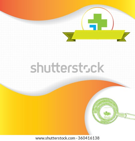 Abstract orange green grid medical background - stock photo
