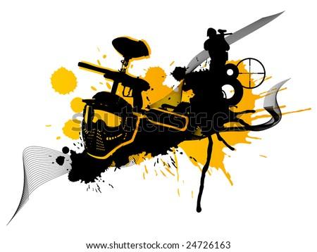 Abstract orange paintball art (logo, background, flyer) - stock photo