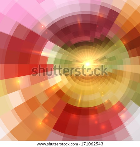 Abstract orange shining circle tunnel lined background