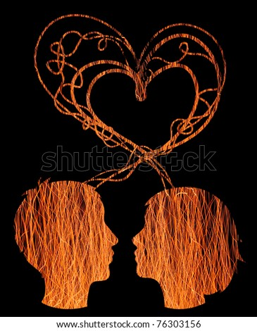 Abstract orange silhouette of couple heads, love concept