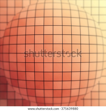 Abstract orange sphere with tiles, depth of field - stock photo
