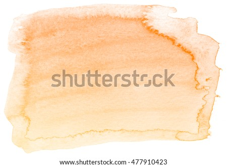 Abstract orange watercolor on white background.This is watercolor splash.It is drawn by hand.